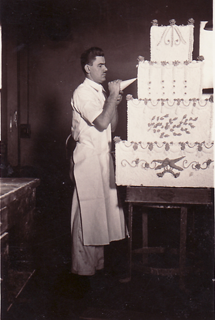 George decorating cake