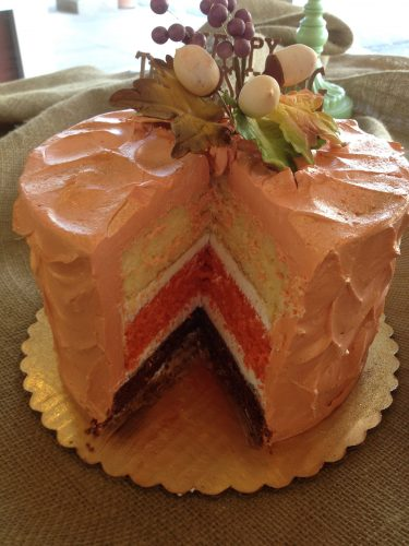 Fall Centerpiece Cake Cut