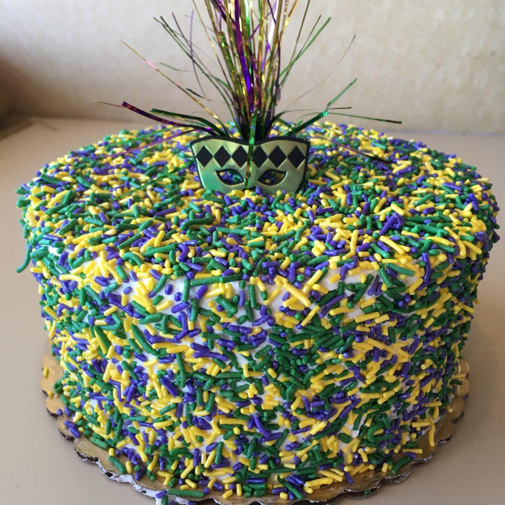 Mardi Gras Sprinkle Cake