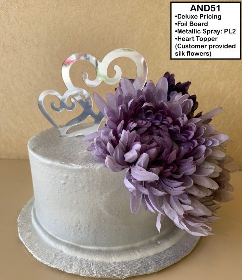 custom wedding anniversary decorated cake metallic silver