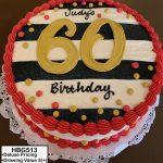 custom birthday decorated cake stripes gold