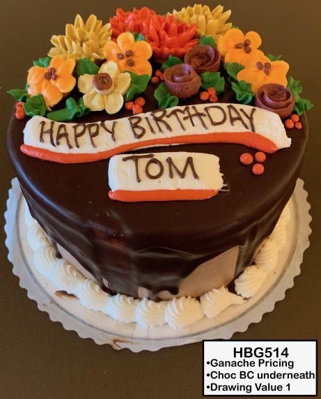 custom birthday decorated cake ganache drip fall flowers