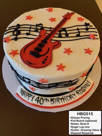 custom birthday decorated cake guitar music