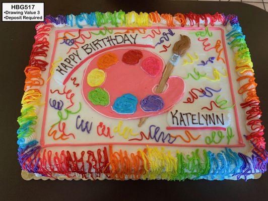 custom birthday decorated cake art painting rainbow