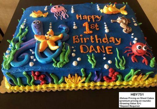 custom decorated birthday cake underwater under the sea