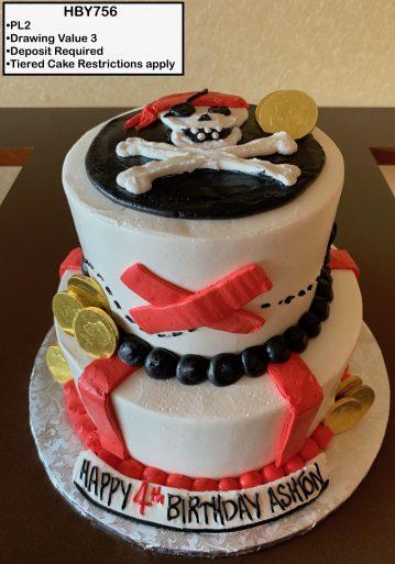 custom decorated birthday tiered cake pirates