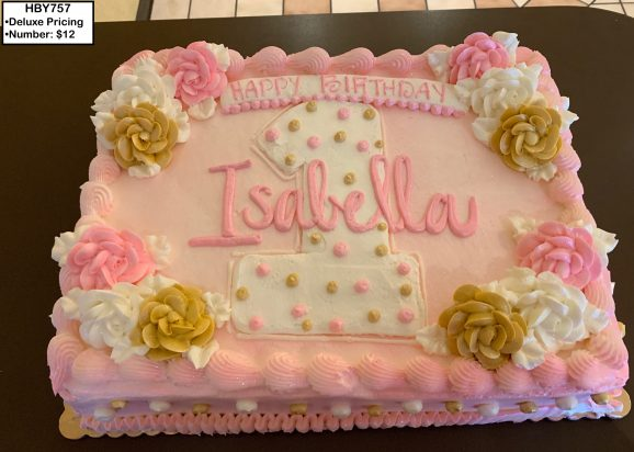 custom decorated birthday cake first roses pink gold