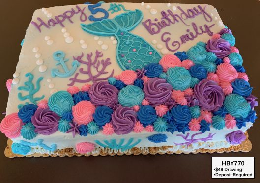 custom decorated birthday cake mermaid