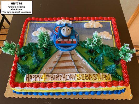 custom decorated birthday cake train thomas the tank engine