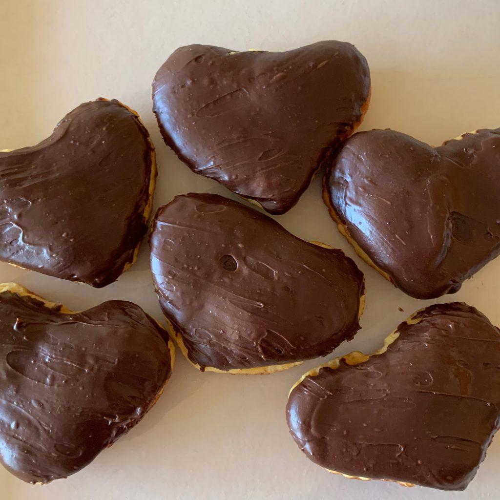 Heart Shaped Chocolate Bismarks - Valentine's Day