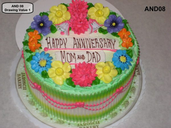custom wedding anniversary decorated cake spring flowers