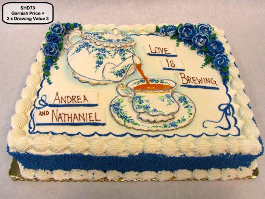 custom bridal shower decorated cake tea party