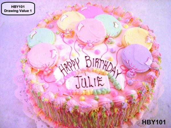 custom decorated birthday cake balloons confetti dots