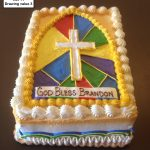 custom religious decorated cake stained glass cross