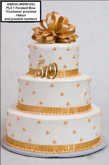custom wedding anniversary decorated cake gold bow ribbon