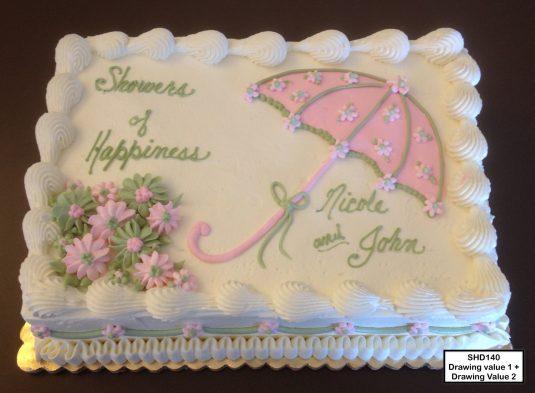 custom bridal shower decorated cake umbrella