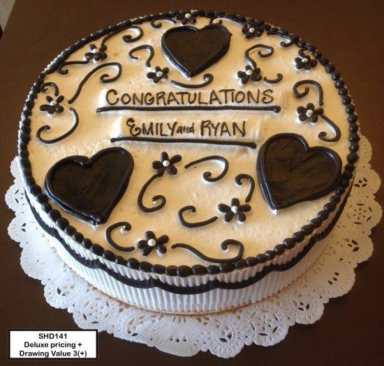 custom bridal shower decorated cake hearts flowers