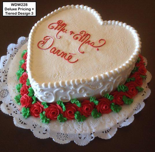 custom wedding anniversary decorated cake heart roses