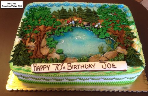 custom birthday decorated cake camping forest outdoors