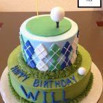 custom birthday decorated tiered cake golf