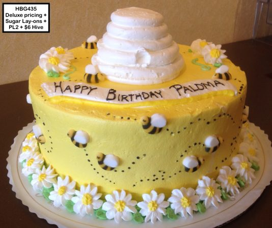 custom baby shower decorated cake bees bee hive daisies