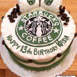 custom birthday decorated cake teen starbucks coffee