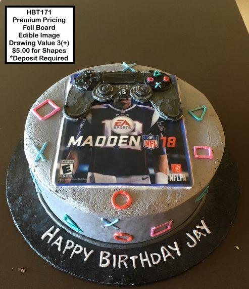 custom birthday decorated cake teen playstation madden video games
