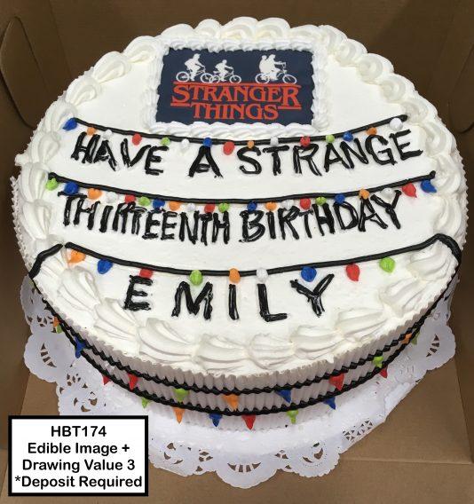 custom birthday decorated cake teen stranger things