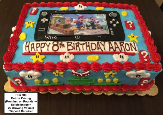 custom decorated birthday cake nintendo mario