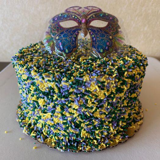 Mardi Gras Sprinkle Cake 2020