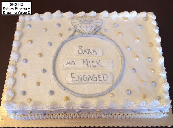 custom bridal shower decorated cake engagement ring