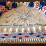 custom bridal shower decorated cake fireworks patriotic