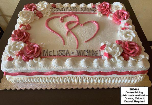 custom bridal shower decorated cake hearts roses