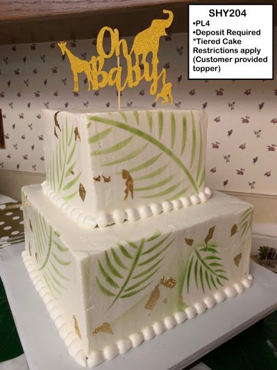 custom baby shower decorated tiered cake jungle animal gold