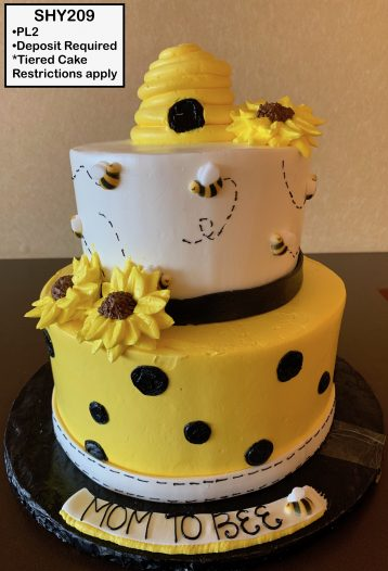 custom baby shower decorated tiered cake bees bee hive sunflowers