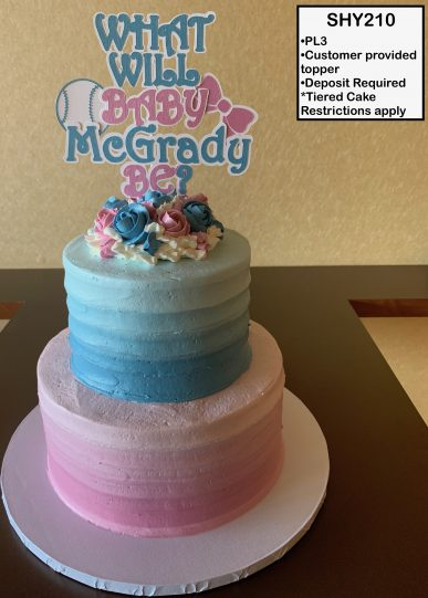 custom baby shower decorated tiered cake gender reveal