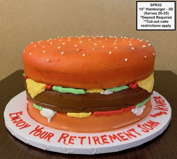 custom special moments retirement decorated cake burger