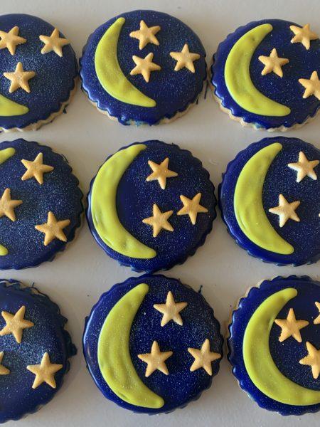 Iced Cookies - Stars and Moon